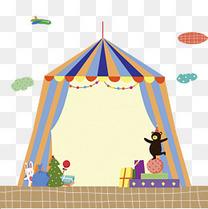 手绘卡通马戏团舞台帐篷欢乐免扣