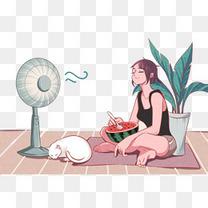 卡通人v西瓜扇吃西瓜表情开心的搞笑图片表示图片