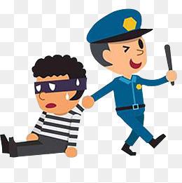 扫黑除恶警察抓小偷卡通装饰免下载图片