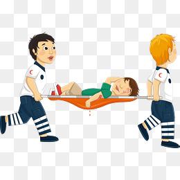 卡通蓝色医疗担架图片