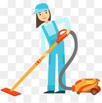 清洁工使用吸尘器插画