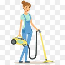 女清洁工工作矢量插画