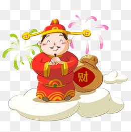 卡通红色小财神人物图片
