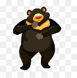 矢量手势动作卡通可爱棕熊图片
