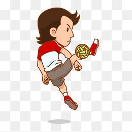 男孩运动踢球矢量卡通可爱图片