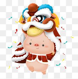 2019农历猪年可爱立体猪舞狮图片