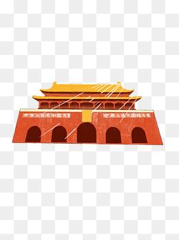 原创手绘北京天安门节日海报素材免抠psd