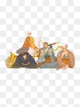 手绘卡通西游记师徒四人插画原创元素