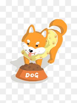 穿衣服吃狗粮的手绘卡通可爱柴犬