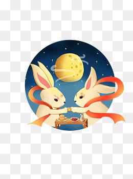 手绘月亮兔子灯插画