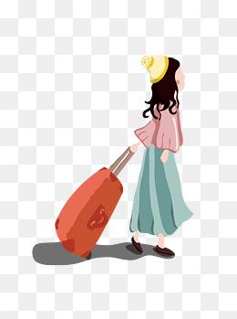 手绘拉着行李箱的小女孩ai元素