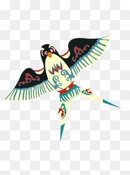 手绘卡通传统手工制作的彩绘燕子风筝可商用元素