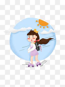 手绘可爱早安卡通女孩运动人物场景素材图片