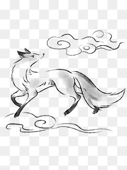 水墨动物可商用元素狐狸手绘中国风