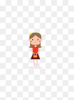 可爱扁平化淑女儿童人物卡通造型图片