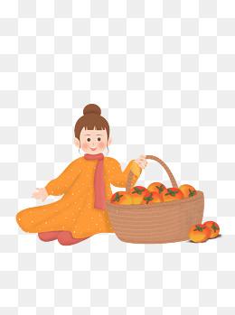 天真可爱的小女孩和一篮柿子可商用元素