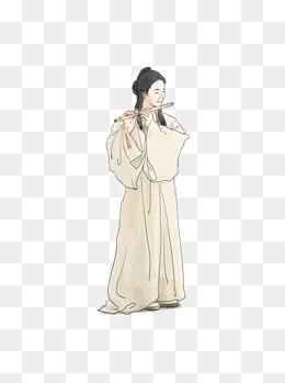 简约中国风水墨手绘古装武侠人物元素