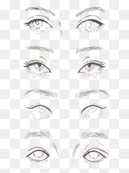手绘眼睛手绘眉毛妆容设计五官时装画白描
