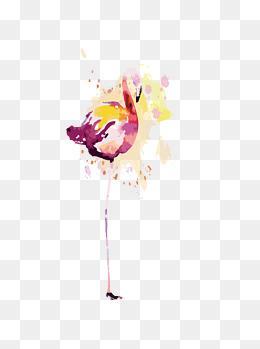 创意手绘水彩风火烈鸟元素