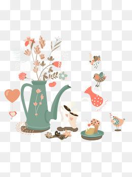 手绘卡通愉快的下午茶时光可商用元素