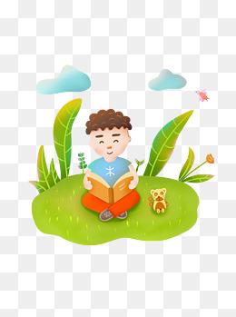 小孩看书手绘卡通可爱人物阅读元素可商用