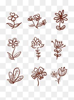 线条花边花手绘花藤装饰花唯美绘画