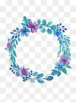 唯美手绘水彩植物花朵花环