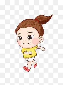 手绘卡通微笑着锻炼身体的可爱小女孩图片
