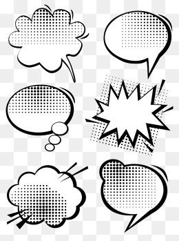 波普风爆炸波点手绘气泡对话框矢量可商用