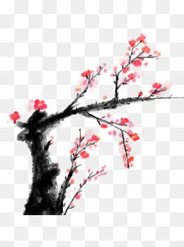 手绘古风中国风水墨红色梅花元素