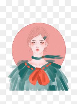 手绘时装画模特插画女孩彩妆圣诞领结少女