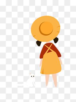 手绘卡通小白猫和戴黄色帽子女孩的背影可商用元素