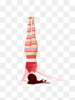 手绘卡通单臂倒立的练瑜伽健身美女图片
