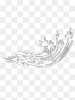 海浪纹理装饰简笔手绘简约