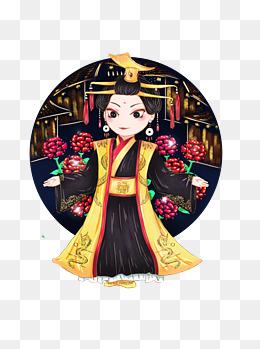 手绘中国古代皇帝女皇武则天形象原创元素