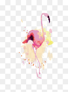 创意手绘水彩火烈鸟元素