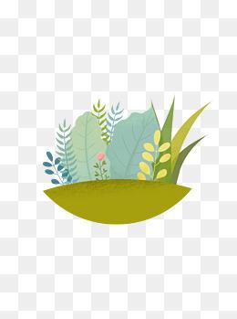 绿叶元素叶子植物手绘插画噪点清新风格