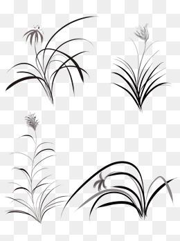 商用手绘古风中国风水墨画植物元素兰草