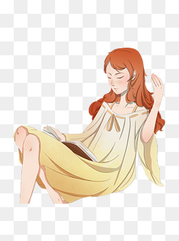 看书的女孩手绘设计可商用元素