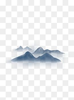 中国风水墨晕染远山风景元素