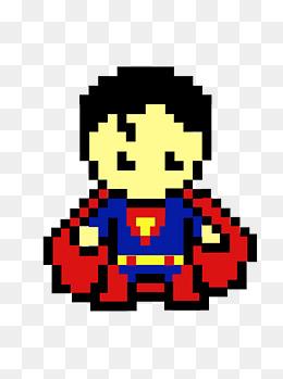 简约创意可爱卡通马赛克超人像素画元素图片