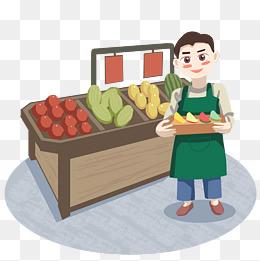 超市水果摊位促销员图片