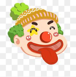扮鬼脸的小丑插画图片
