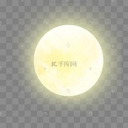 黄色发光中秋月亮