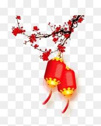 新年过年红色喜庆灯笼梅花