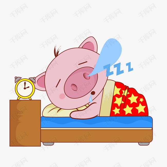 卡通萌宠小猪睡觉表情图片