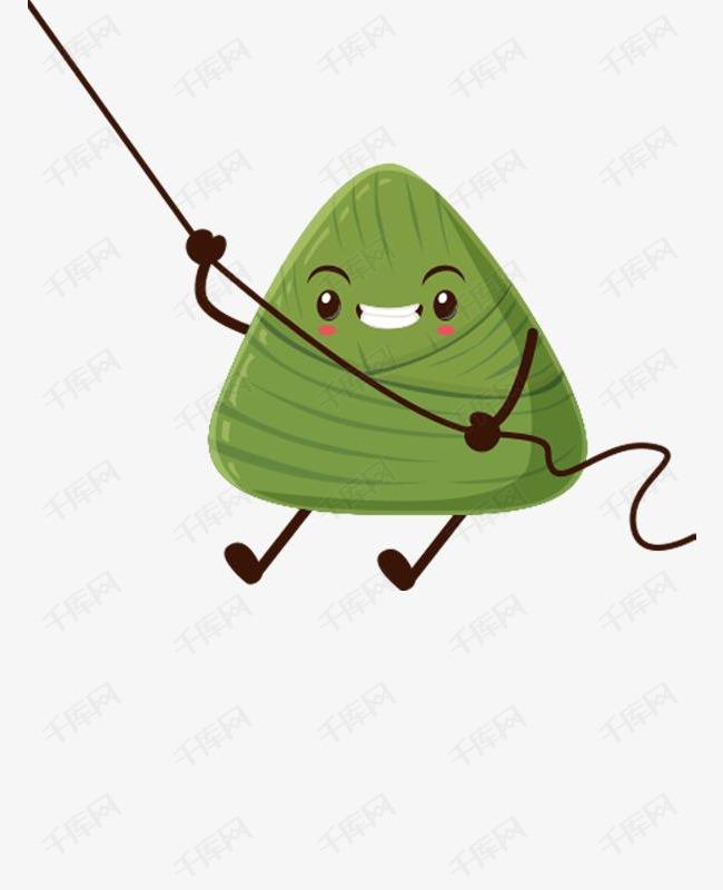 绿色圆角粽子美食元素