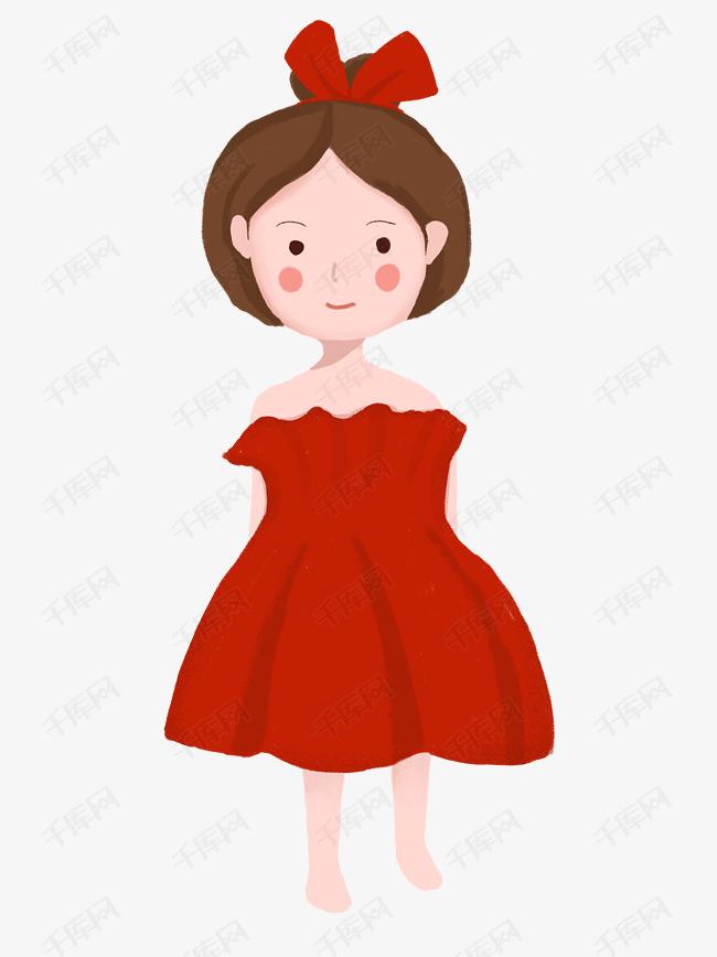 卡通人物红裙子小女孩图片