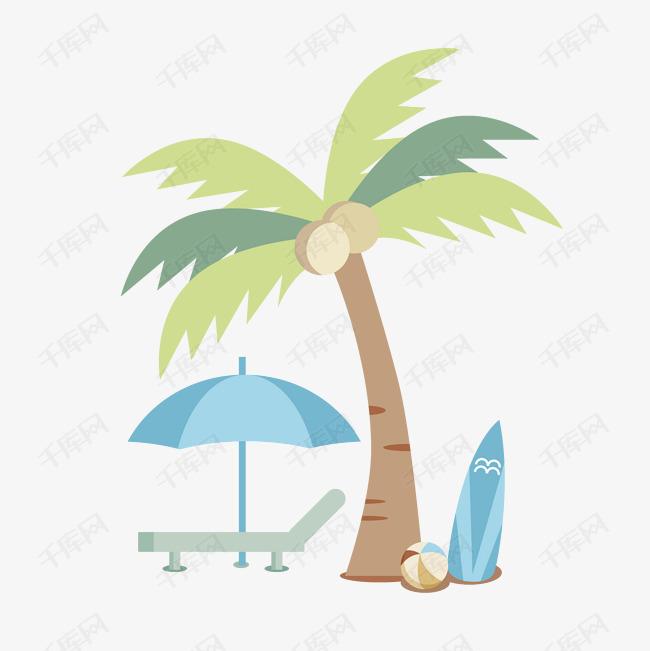 夏日手绘椰树躺椅扁平风PNG素材图片免费下载 高清psd 千库网 图片编号10725032