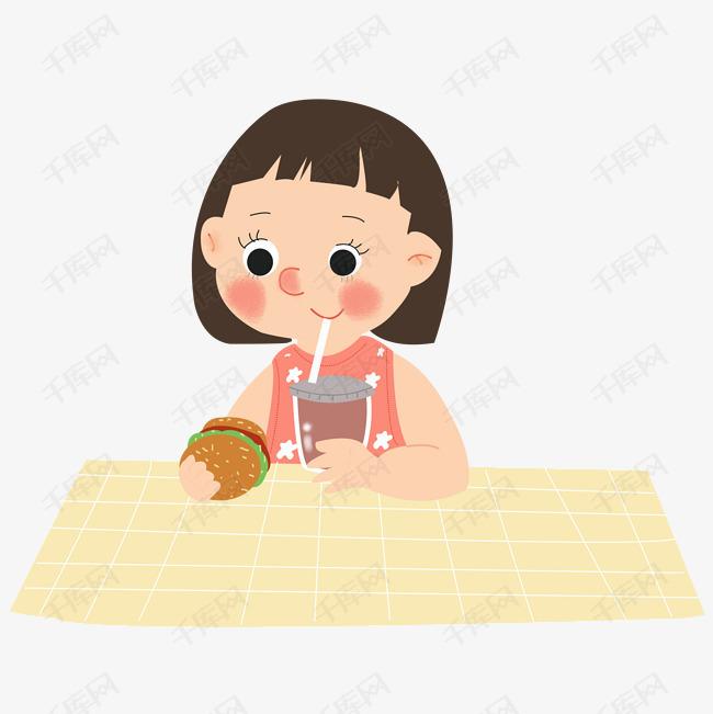 夏天小女孩吃汉堡喝饮料PNG素材女说还得行生长图片
